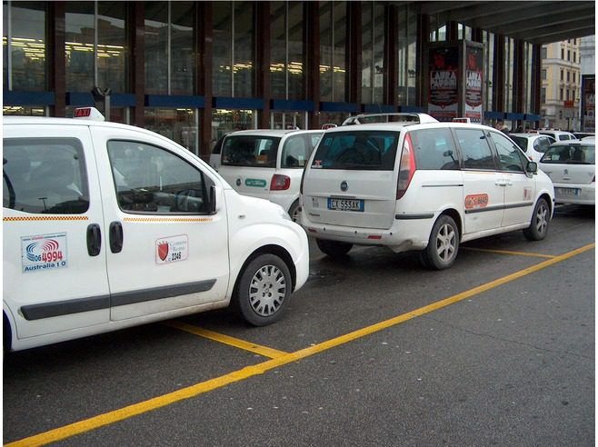 Ciampino airport white taxis lined up