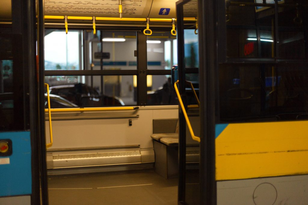 Interior view of a public bus