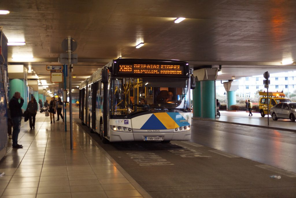 Athens airport bus X96 waiting on the platform