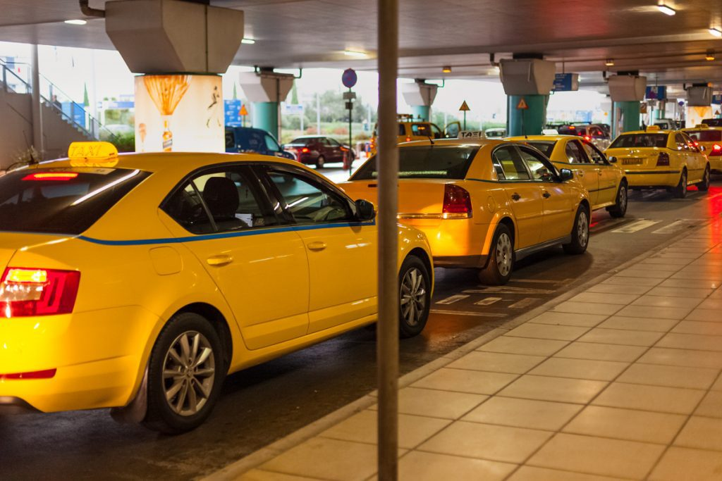 Athens airport yellow taxis lined up