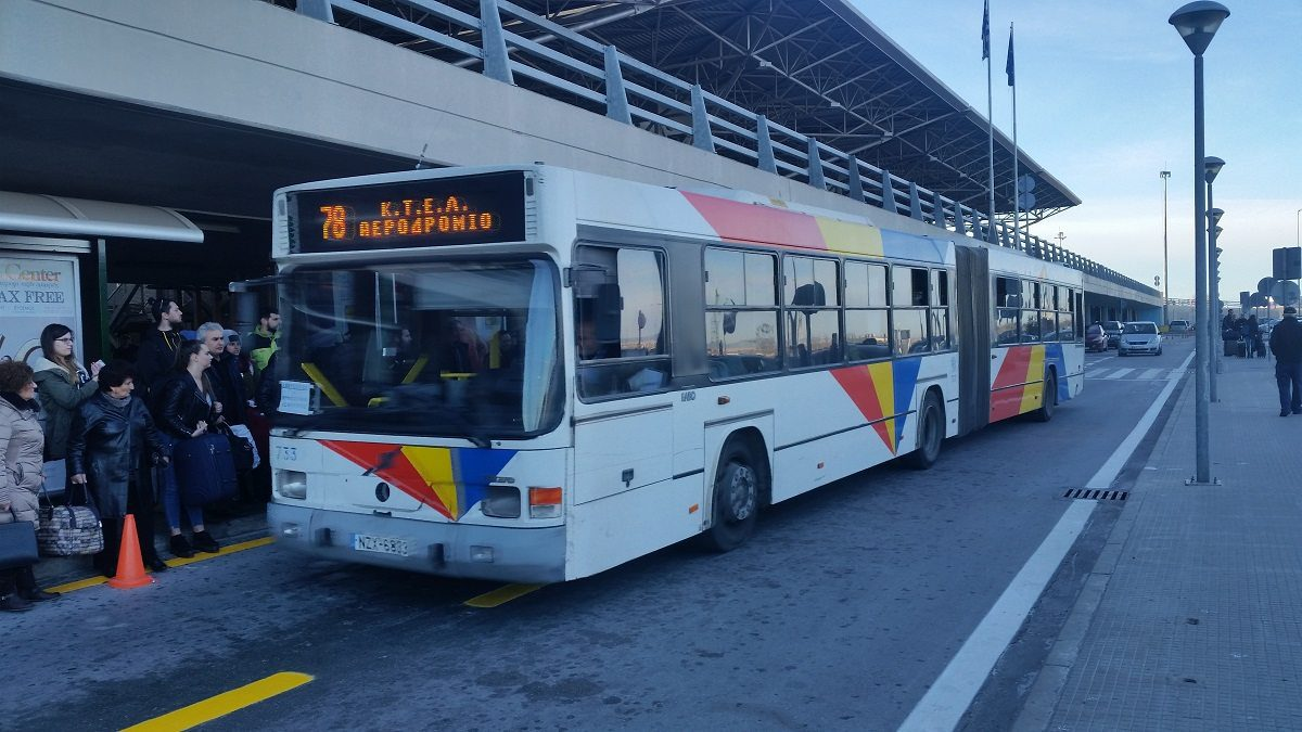 Airport bus line 78 waiting on the platform