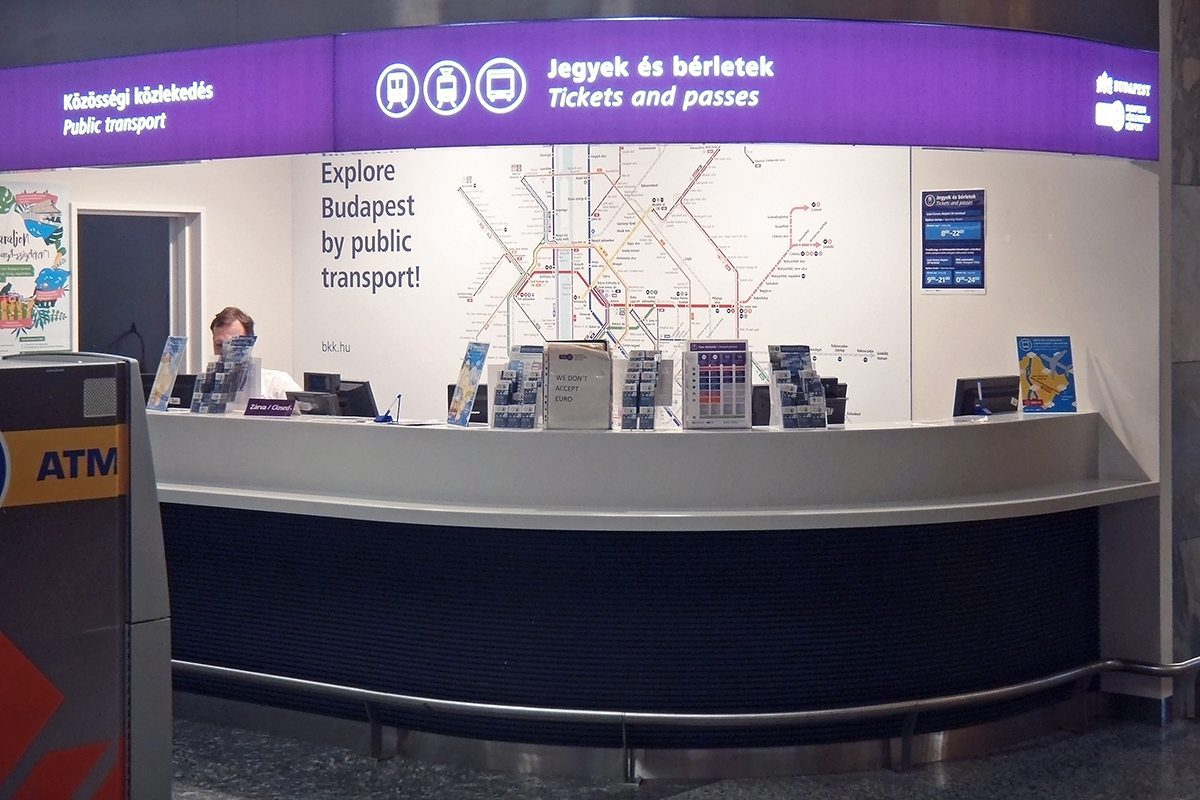 Budapest airport bus ticket counter