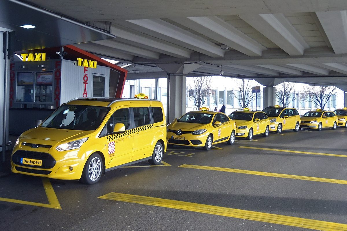 Budapest airport yellow taxis lined up