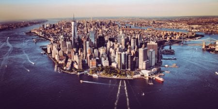 view of manhattan skyline from helicopter new york